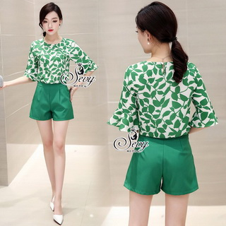 Sevy Two Pieces Of Leaves Blouse With Shorts Sets