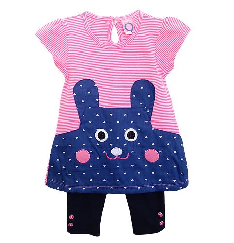 ขายส่งเสื้อผ้าเด็ก ชุดเลคกิ้งปักหน้ากระต่ายน้อยน่ารัก หน้ากระต่ายที่เห็นด้านหน้าเป็นกระเป๋าในตัวด้วยค่ะ