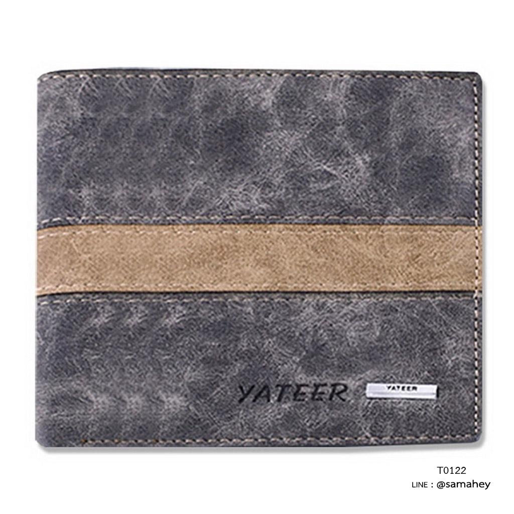 กระเป๋าสตางค์ผู้ชาย ทรงสั้น รุ่น YATEER JR2 - สีเทา