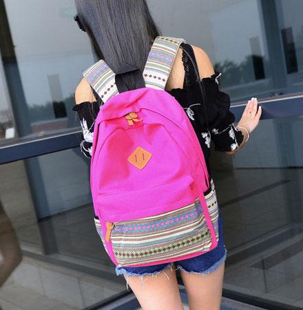 ขายส่ง กระเป๋าเป้ผ้าสะพายหลัง เป้นักเรียน School bag แฟชั่นญี่ปุ่น รหัส NA-544 สีชมพู