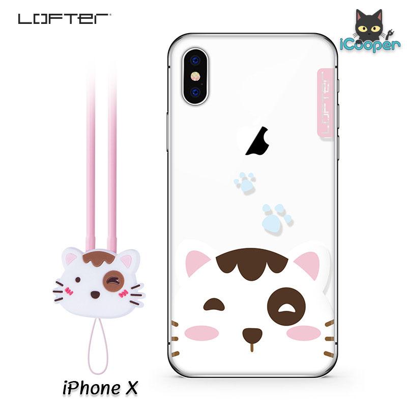 LOFTER Cartoon Cute - White Cat (iPhoneX)