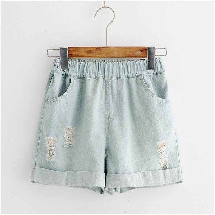 กางเกงยีนส์ขาสั้นเอวยืด ปักลาย (มีให้เลือก 2 สี 3 ไซส์)