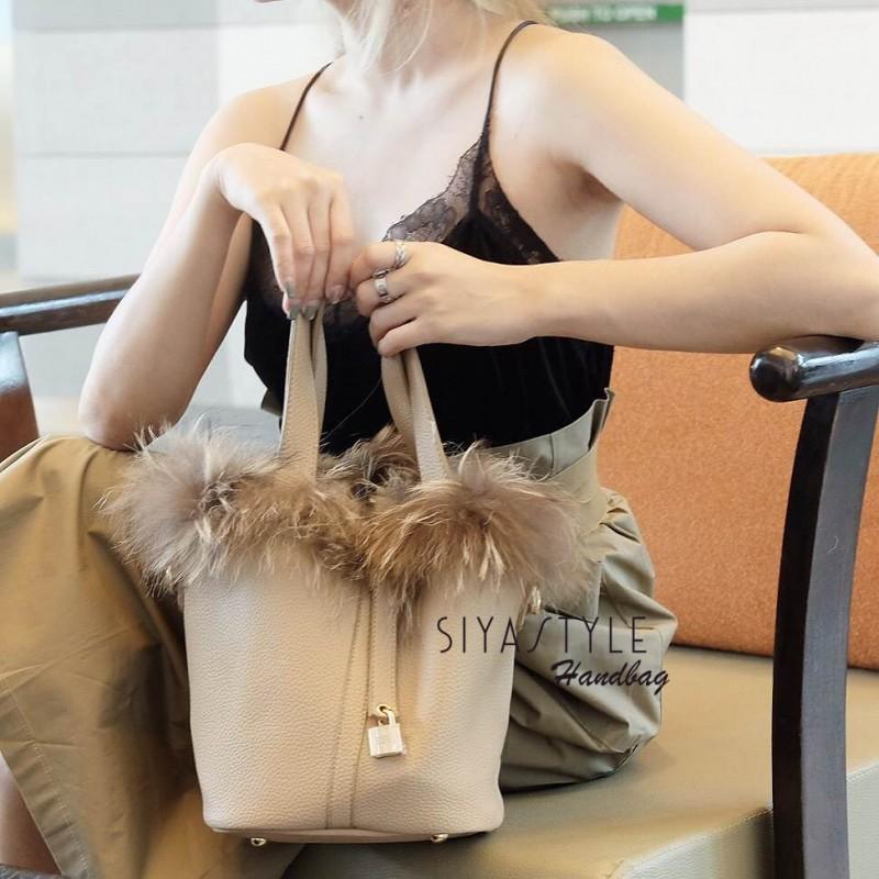 กระเป๋าสะพายแฟชั่น กระเป๋าสะพายข้างผู้หญิง Picotin เฟรอ [สีครีม]