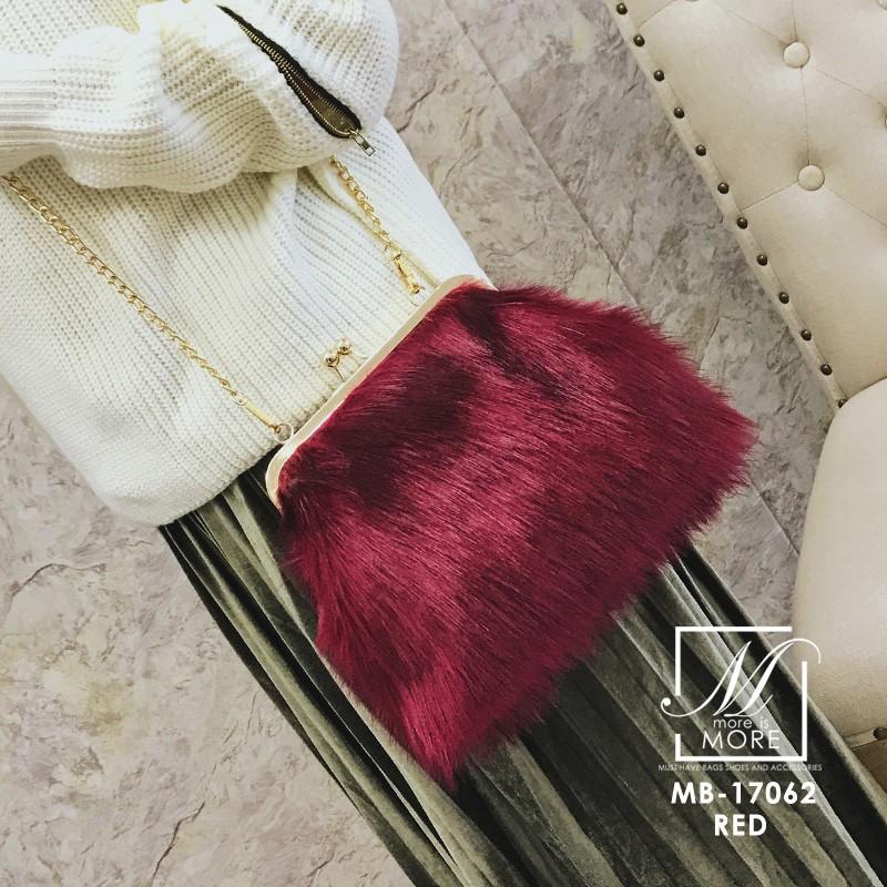 กระเป๋าสะพายกระเป๋าถือกระเป๋าขน แฟชั่นนำเข้าแบบขน fur สุดนุ่ม MB-17062-RED (สีแดง)