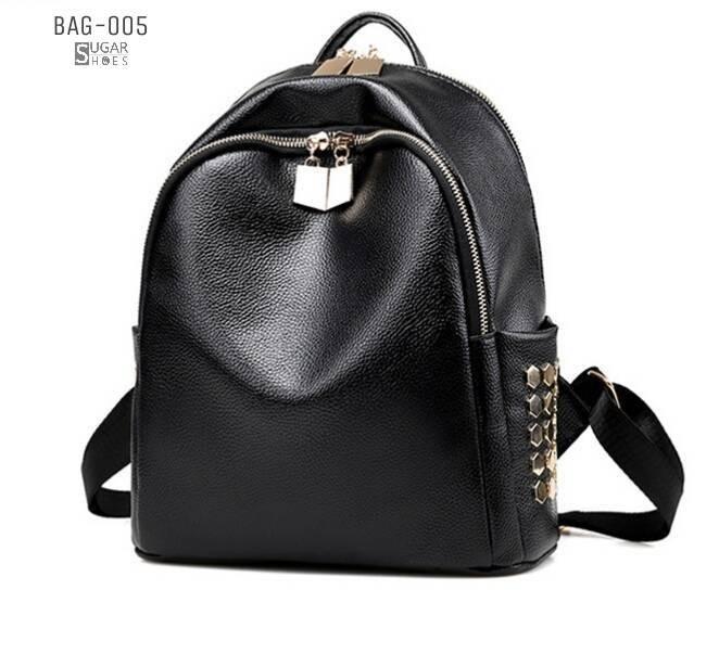 พร้อมส่ง กระเป๋าเป้หนัง pu นิ่มตกแต่งหมุด-BAG-005 [สีดำ]