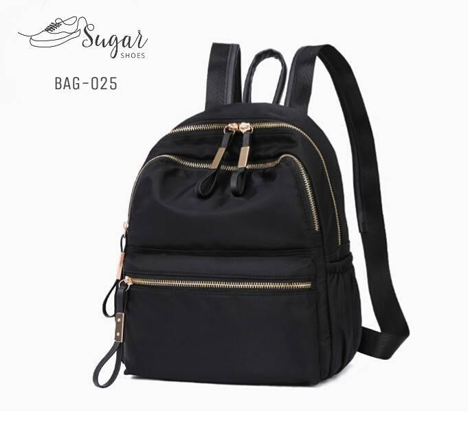 พร้อมส่ง กระเป๋าเป้ผู้หญิงผ้าไนล่อน-BAG-025 [สีดำ]