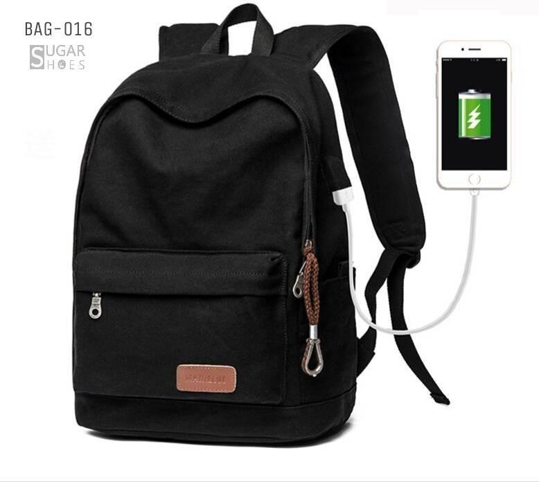 พร้อมส่ง กระเป๋าเป้ผู้ชายผ้าแคนวาส-BAG-016 [สีดำ]