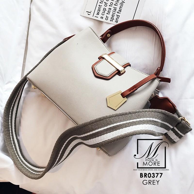 กระเป๋าสะพายกระเป๋าถือ แฟชั่นนำเข้าทรงยอดฮิต แบรนด์ BEIBAOBAO แท้ BR0377-GRY (สีเทา)