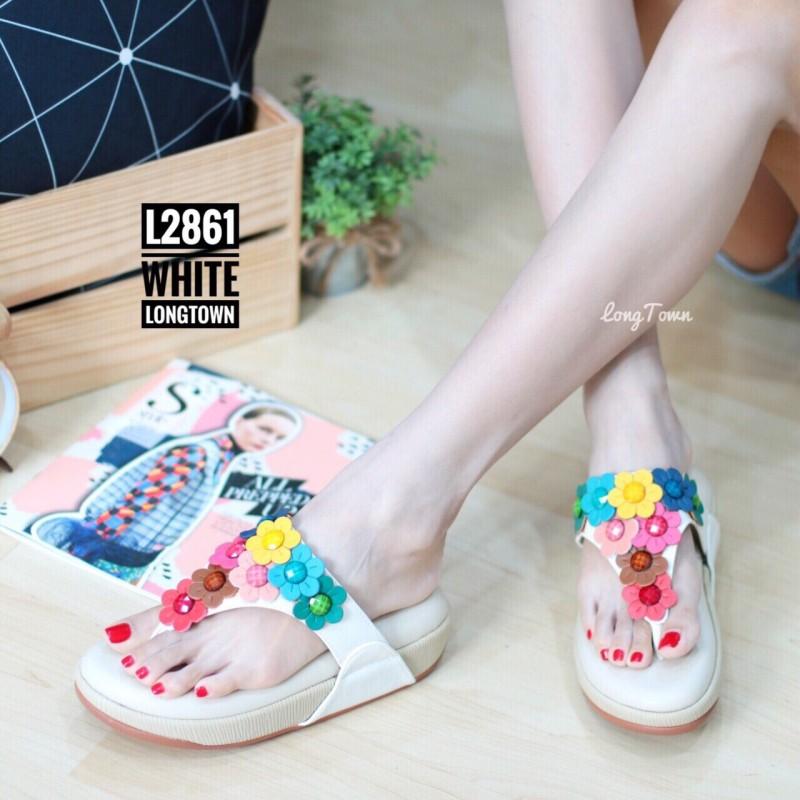 พร้อมส่ง รองเท้าเพื่อสุขภาพ ฟิทฟลอบพื้นนูน L2861-WHT [สีขาว]