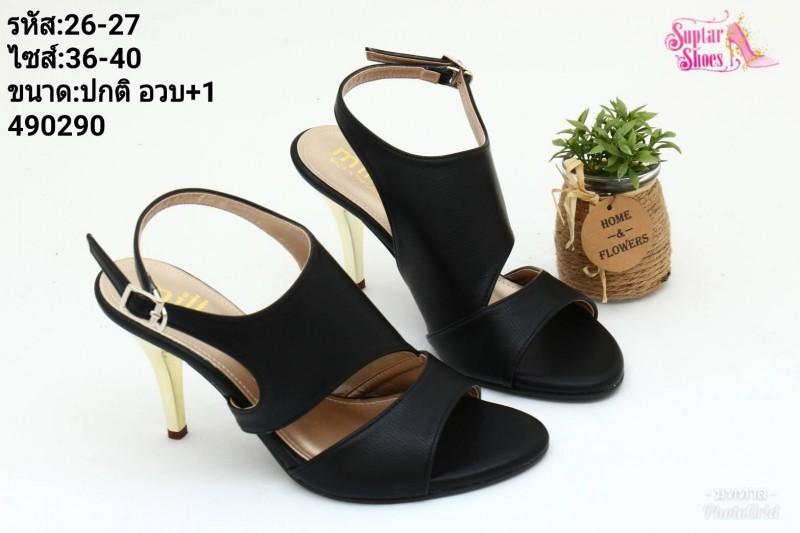 พร้อมส่ง รองเท้าส้นเข็มเปิดหน้ารัดท้ายโชว์ส้น 26-27-BLK [สีดำ]