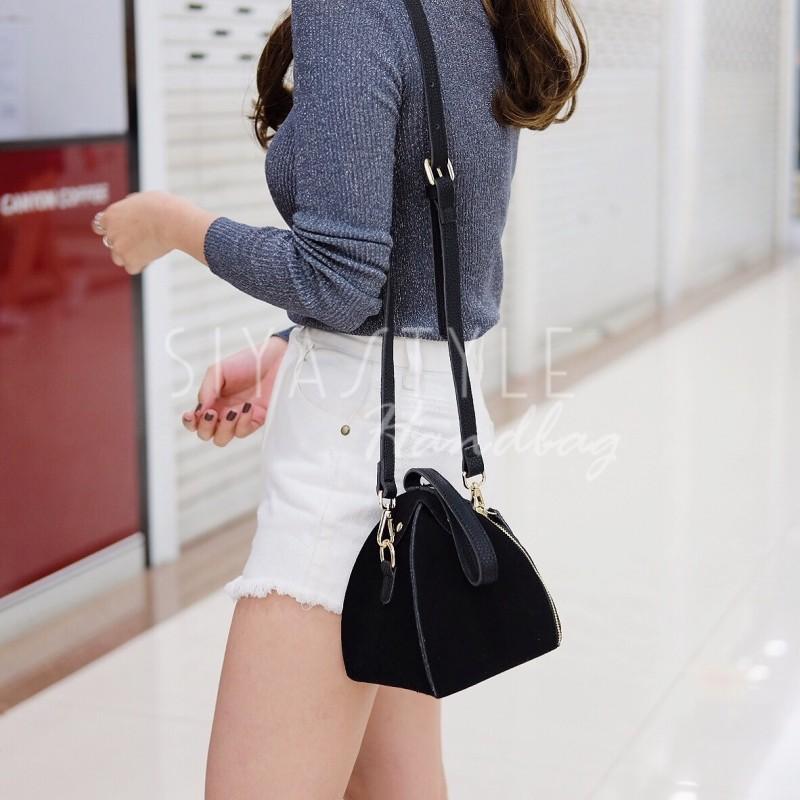 กระเป๋าสะพายแฟชั่น กระเป๋าสะพายข้างผู้หญิง กระเป๋าสะพายข้าง ฟักทอง [สีดำ]