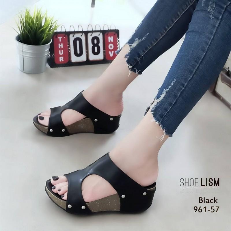 รองเท้าส้นเตารีดสีดำ หนัง pu LB-961-57-ดำ