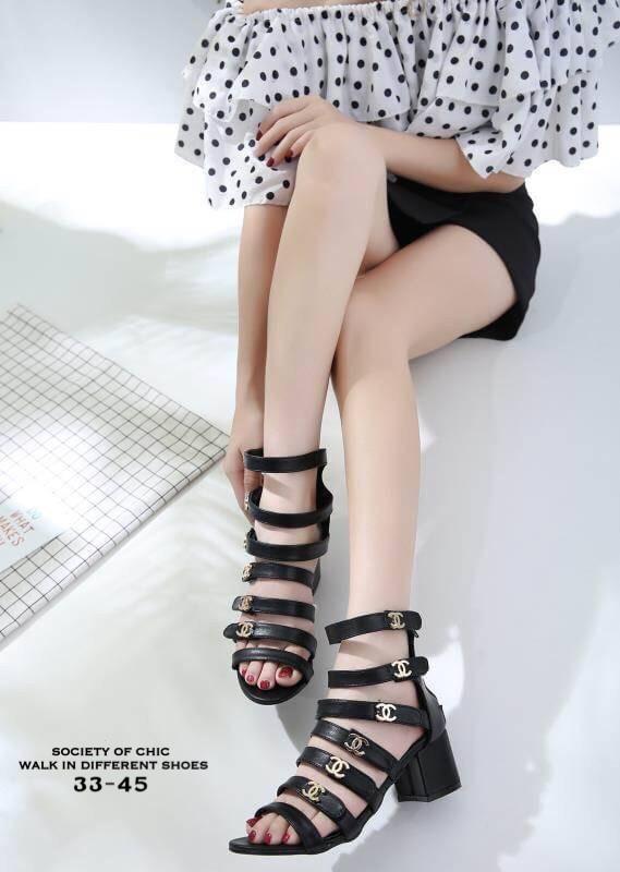 รองเท้าส้นสูงแบบมีสายรัดสีดำ สไตล์chanel LB-33-45-BLK
