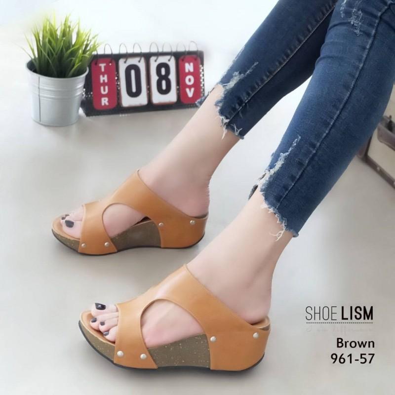 รองเท้าส้นเตารีดสีน้ำตาล หนัง pu LB-961-57-น้ำตาล
