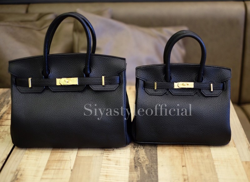 พร้อมส่ง กระเป๋าสะพายข้างผู้หญิง Birkin PU 25 cm [สีดำ]