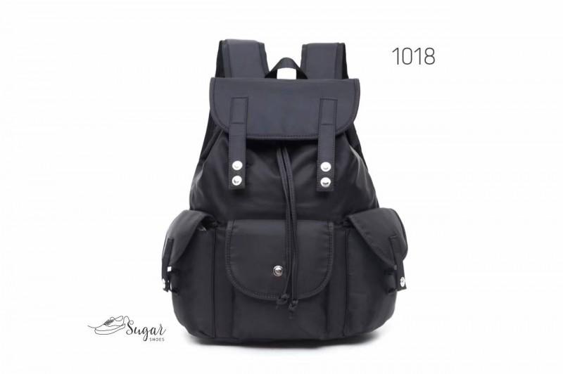 พร้อมส่ง กระเป๋าเป้ผ้าไนล่อน-1018 [สีดำ]