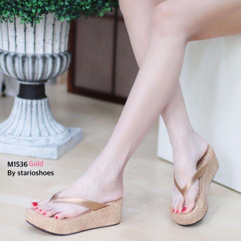 พร้อมส่ง รองเท้าเพื่อสุขภาพ หนีบส้นโฟม M1536-GLD [สีทอง]