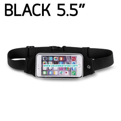 กระเป๋าคาดเอว วิ่ง กันน้ำ สีดำ Touch Screen หน้าจอ 5.5 นิ้ว