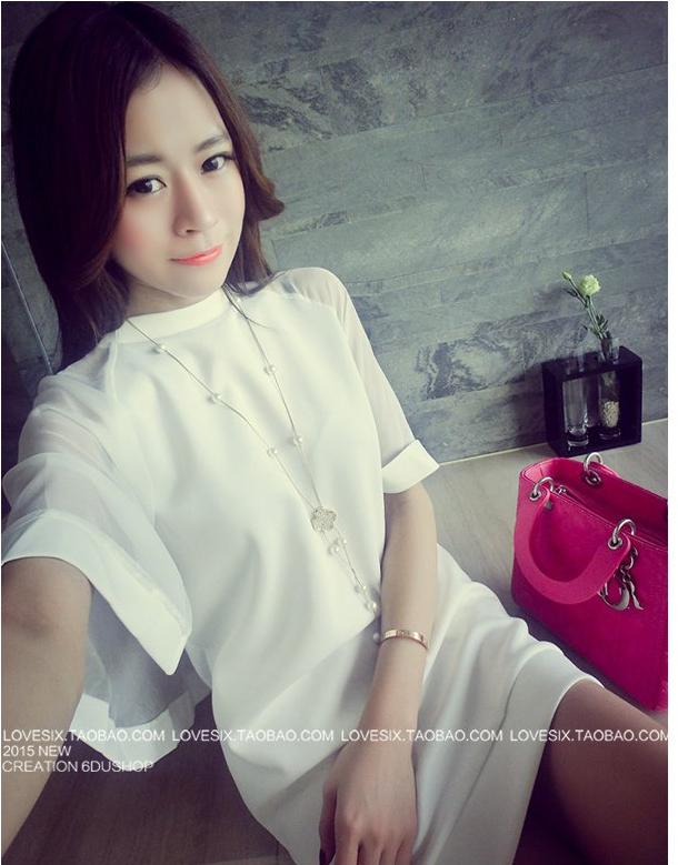 รับตัวแทนจำหน่ายชุดเดรสแฟชั่นเกาหลีสีขาว