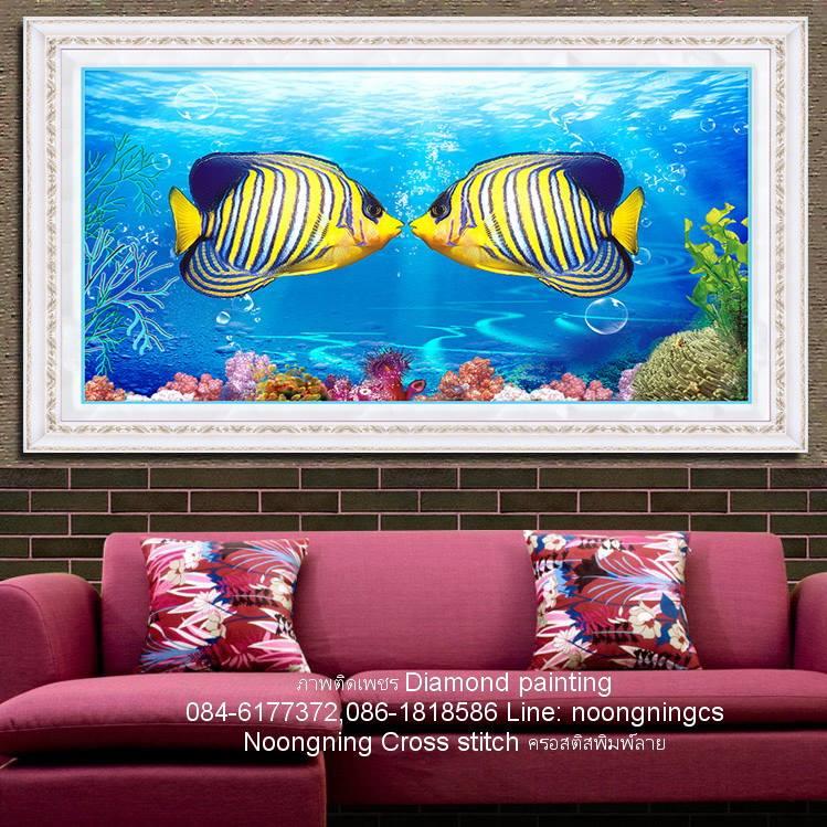 ปลาการ์ตูน ภาพติดเพชรDiamond painting