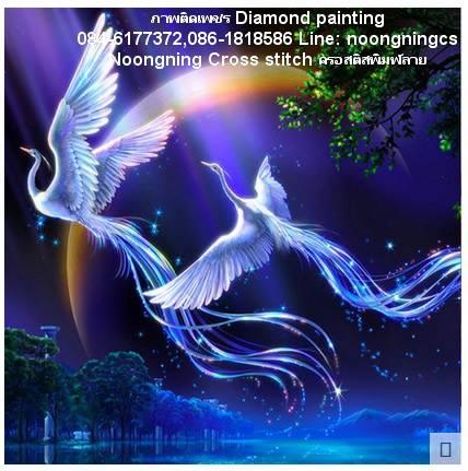 หงส์คู่ ครอสติสคริสตัล Diamond painting ภาพติดเพชร