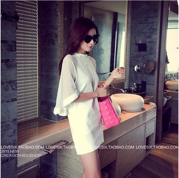 รับตัวแทนจำหน่ายชุดเดรสแฟชั่นเกาหลีสีขาวไฮโซ
