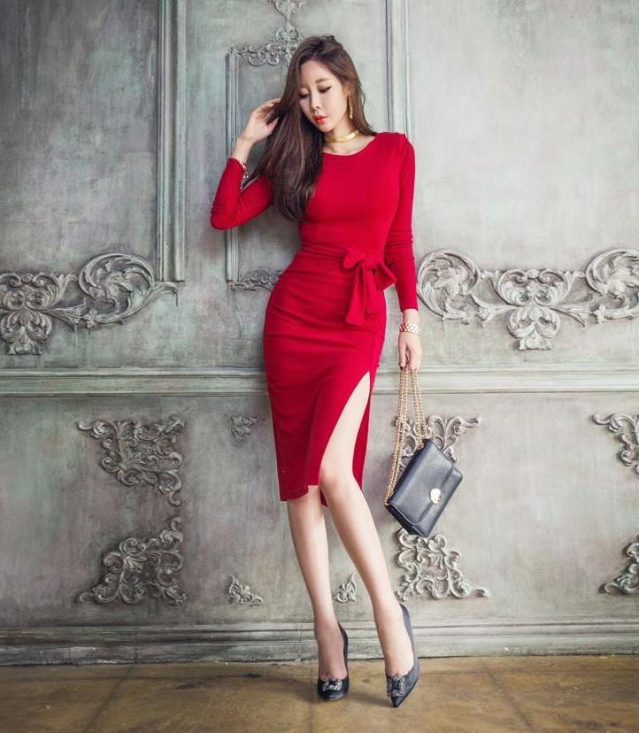 เดรสทำงานเกาหลีสีแดงน่ารักๆ