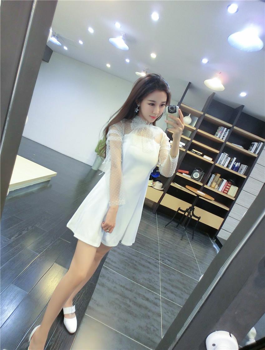 ชุดเดรสแฟชั่นเกาหลีสีขาวกระโปรงบานน่ารักๆ