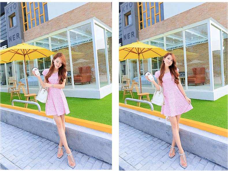 รับตัวแทนจำหน่ายชุดเดรสทำงานแฟชั่นเกาหลีสีชมพูลายจุดกระโปรงบานน่ารัก