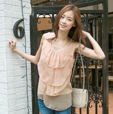 เสื้อแฟชั่น ผ้าชีฟอง + ปักด้านหลัง แบบสวม สีชมพู (สีสินค้าจริงรูปสุดท้าย)