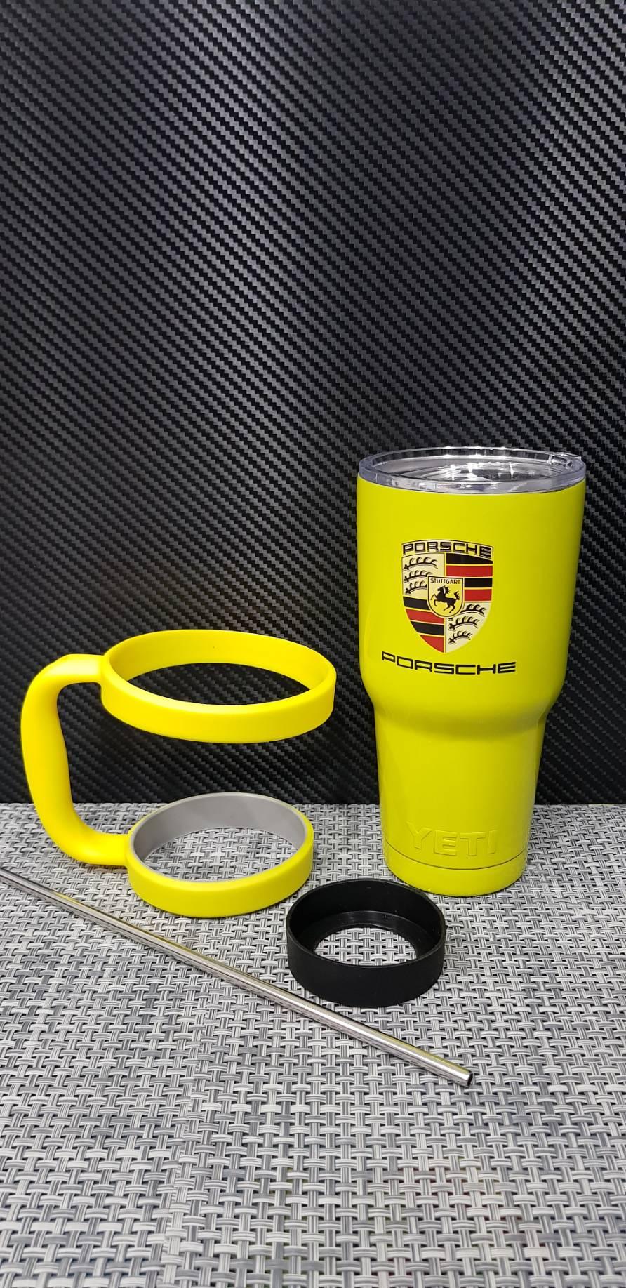 ชุดแก้วเยติ 30 ออนซ์ พื้นสีเหลือง โลโก้ Porsche