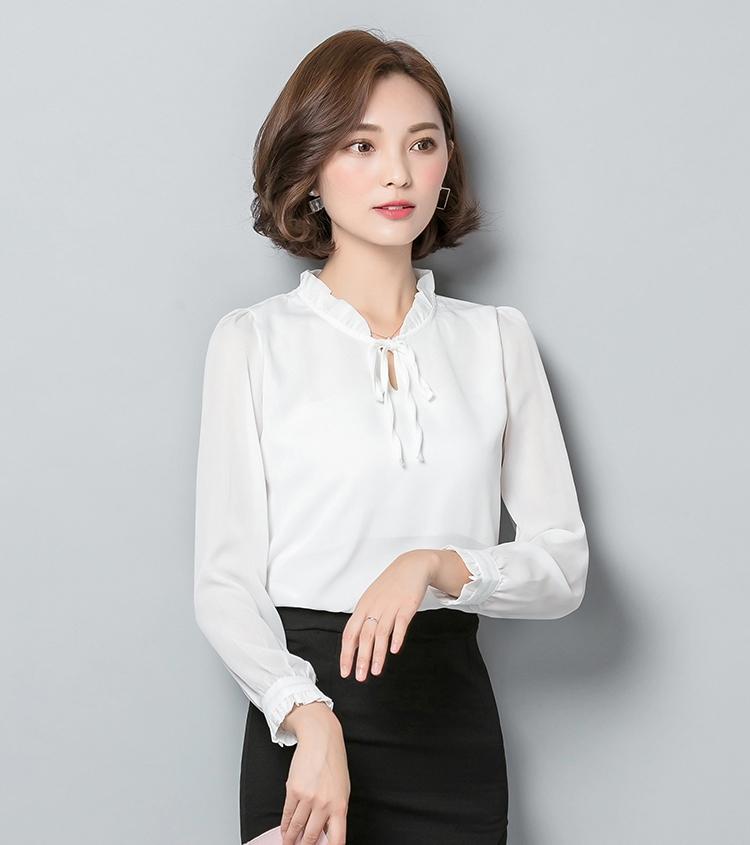 เสื้อชีฟองแขนยาวสีขาว