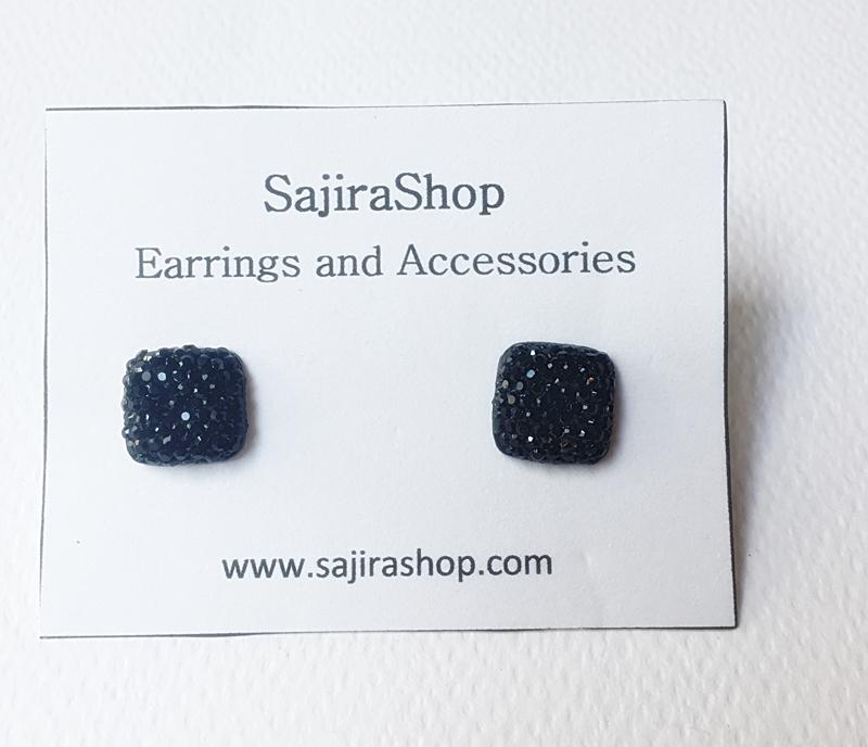 ต่างหูสี่เหลี่ยมสีดำวิ้งๆ ต่างหูแบบติดหู ตุ้มหูเล็กๆ น่ารัก