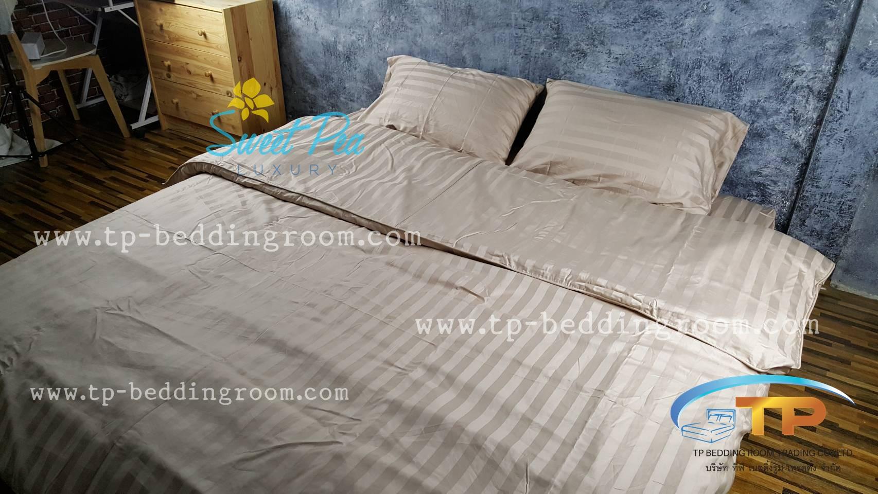 ชุดผ้าปูที่นอนโรงแรมลายริ้ว 6 ฟุต (5 ชิ้น) สีโอวัลติล