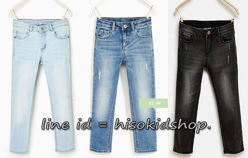 1808 Zara Basic Jeans มี 3 สีค่ะ Light Blue/Blue/Black ปรับลดเอวได้ ขนาด 8-14 ปี