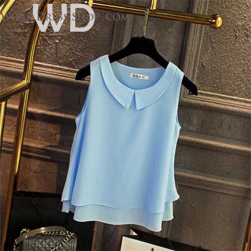 Pre-order เสื้อทำงาน สีฟ้าอ่อน คอกลมมีปก แขนกุด แต่งระบายชายเสื้อสองชั้น สวยหวานสุดๆ