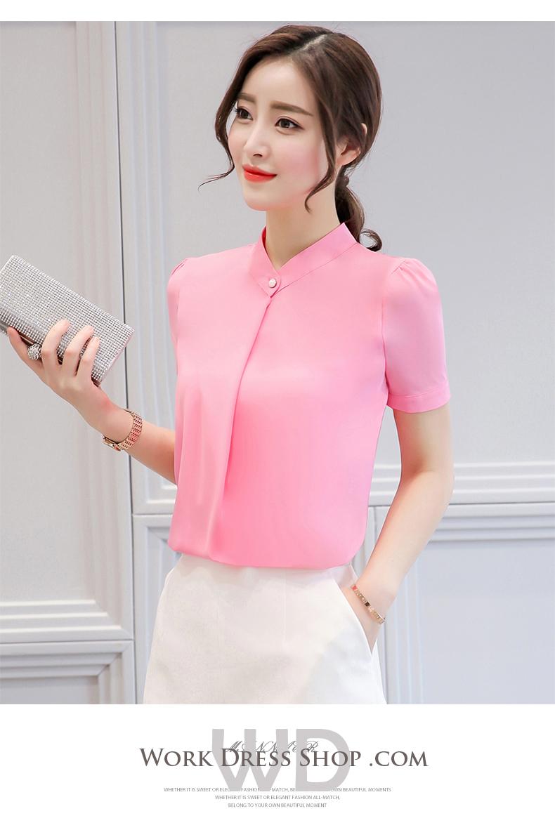 Preorder เสื้อทำงาน สีชมพู แต่งคอป้ายติดกระดุมเก๋ๆ แขนสั้น เนื้อผ้าระบายอากาศได้ดี