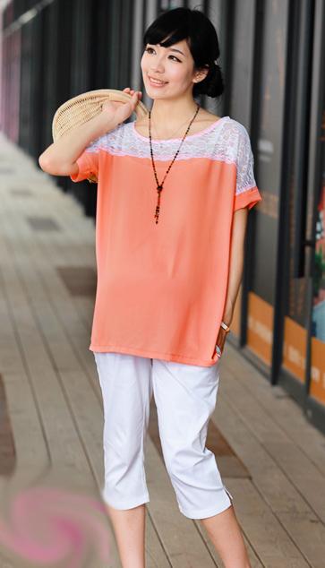 เสื้อคลุมท้องสีส้ม ช่วงไหล่เป็นผ้าลูกไม้ มีซิปข้าง