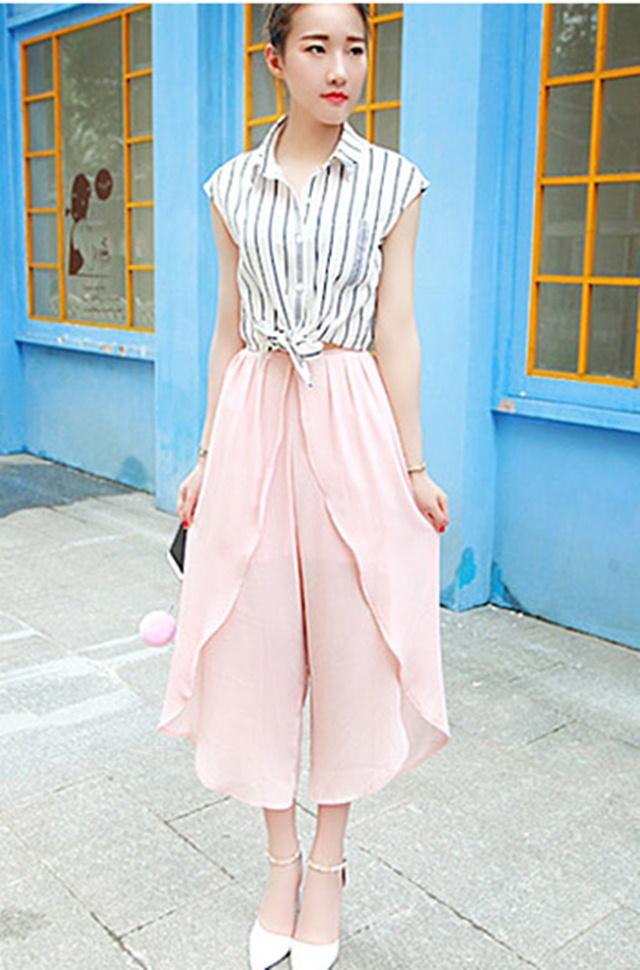 กางเกงขายาวแฟชั่นเกาหลี ชีฟอง สีชมพู