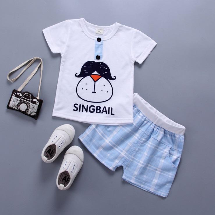 ชุดเซตเสื้อสีขาวsingbail+กางเกงสีฟ้า แพ็ค 4 ชุด [size 6m-1y-18m-2y]