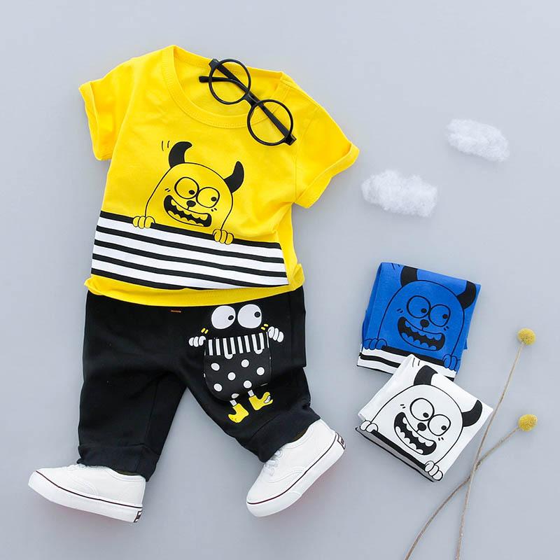 ชุดเซตเสื้อสีเหลืองลายมอนสเตอร์+กางเกงสีดำ แพ็ค 4 ชุด [size 6m-1y-2y-3y]