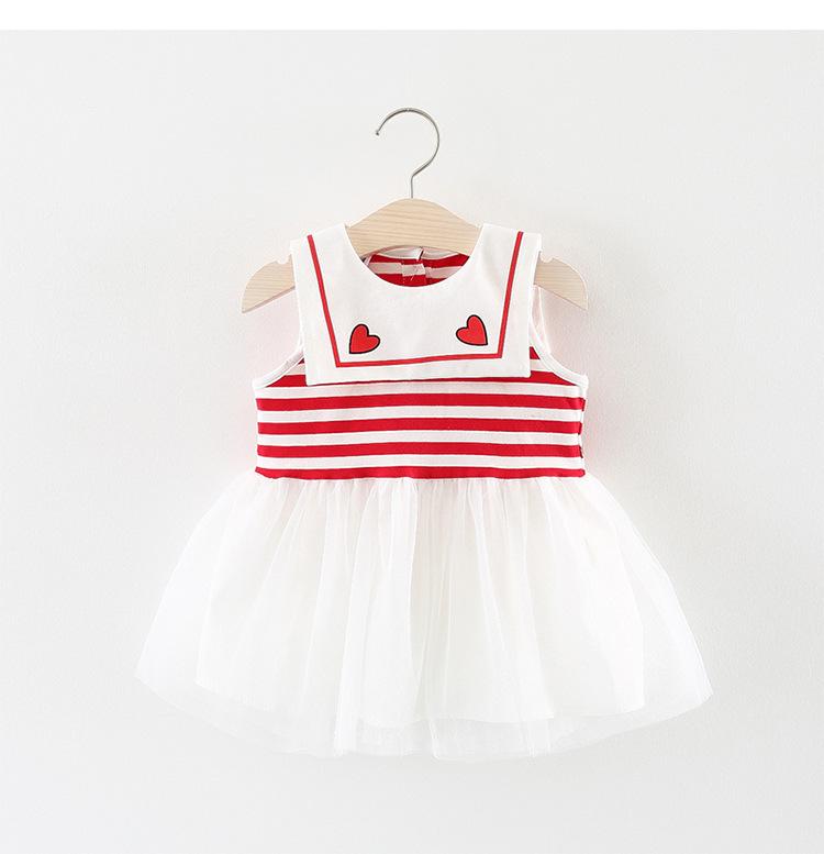 ชุดเดรสลายขวางสีแดงปกคอแต่งลายหัวใจ [size 6m-1y-18m]