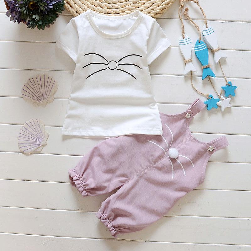 ชุดเซตเสื้อแขนสั้นสีขาว+เอี๊ยมหนูสีชมพู แพ็ค 4 ชุด [size 6m-1y-18m-2y]