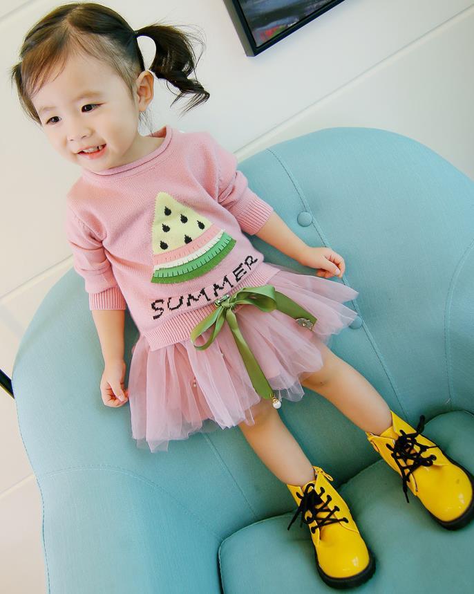 เสื้อ+กระโปรง สีชมพู แพ็ค 5 ชุด ไซส์ 7-9-11-13