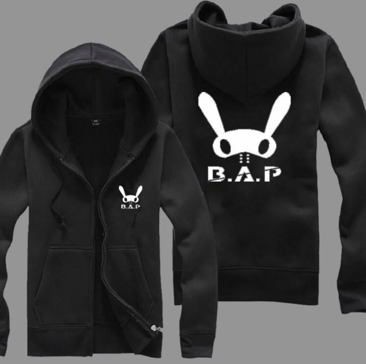 เสื้อฮู้ดแขนยาว B.A.P (ดำ) ซิปหน้า