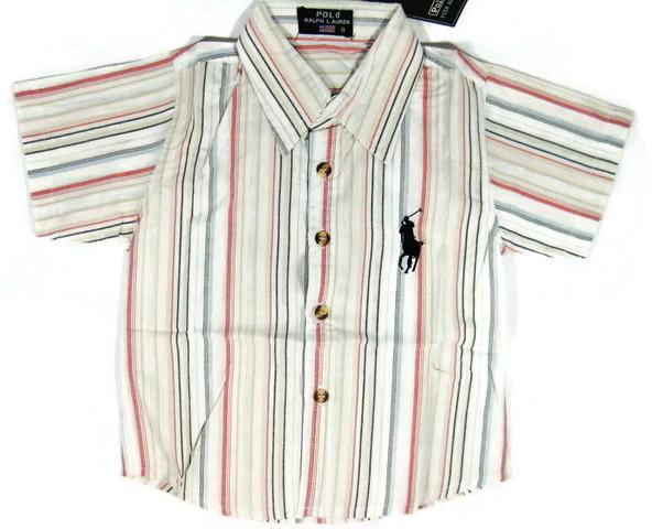 SH108 POLO RALPH LAUREN เสื้อเชิ้ตเด็กแขนสั้น ผ้าคอตตอน นิ่ม พริ้วนิด ๆ ลายริ้วสลับสี โทนแดงอมส้ม-ครีม ปักม้าตรงอก Size 6/10