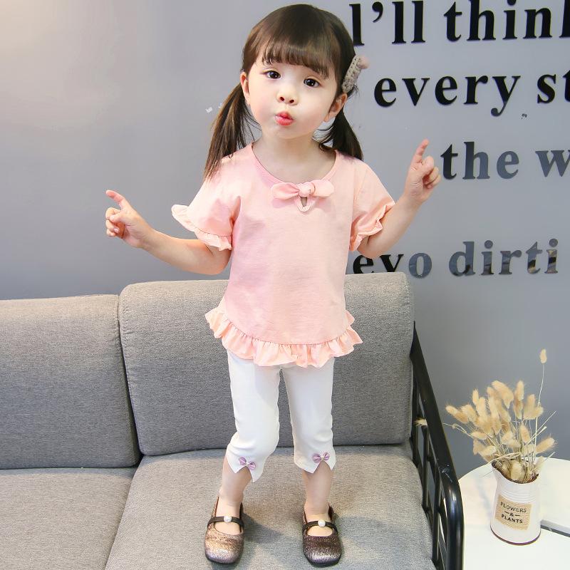 ชุดเซตเสื้อสีชมพูอ่อน+กางเกงสีขาว แพ็ค 5 ชุด [size 6m-1y-18m-2y-3y]