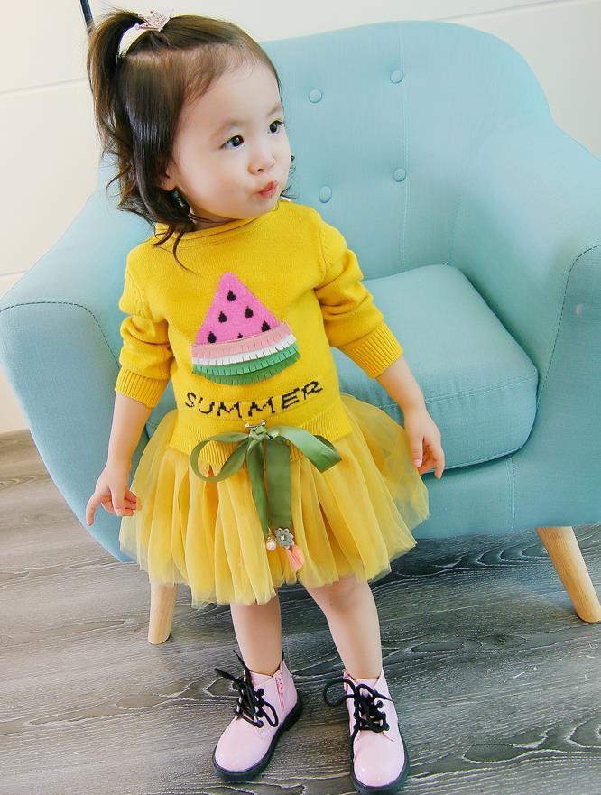 เสื้อ+กระโปรง สีเหลือง แพ็ค 5 ชุด ไซส์ 7-9-11-13
