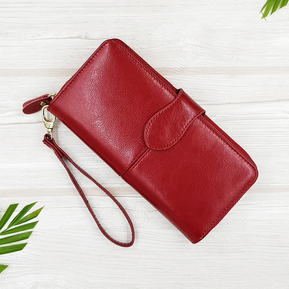W Long Leather New Red