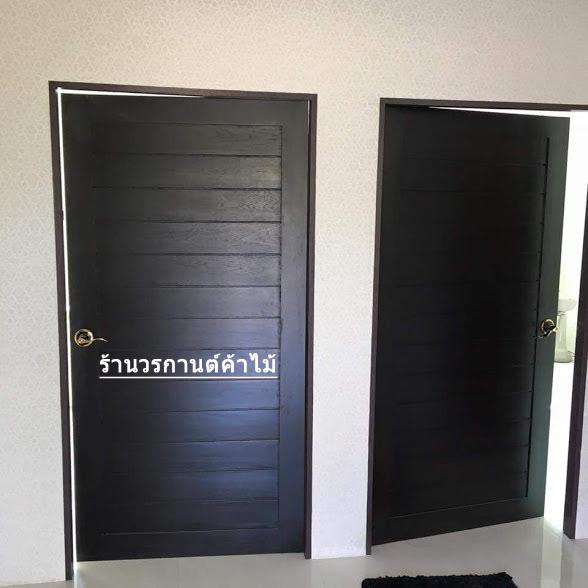 ประตูไม้สักบานเดี่ยว โมเดิร์น สีโอ๊ค เกรดA รหัส C19